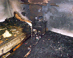 Structural fire in a home investigated by forensic fire investigators with Anderson Engineering.
